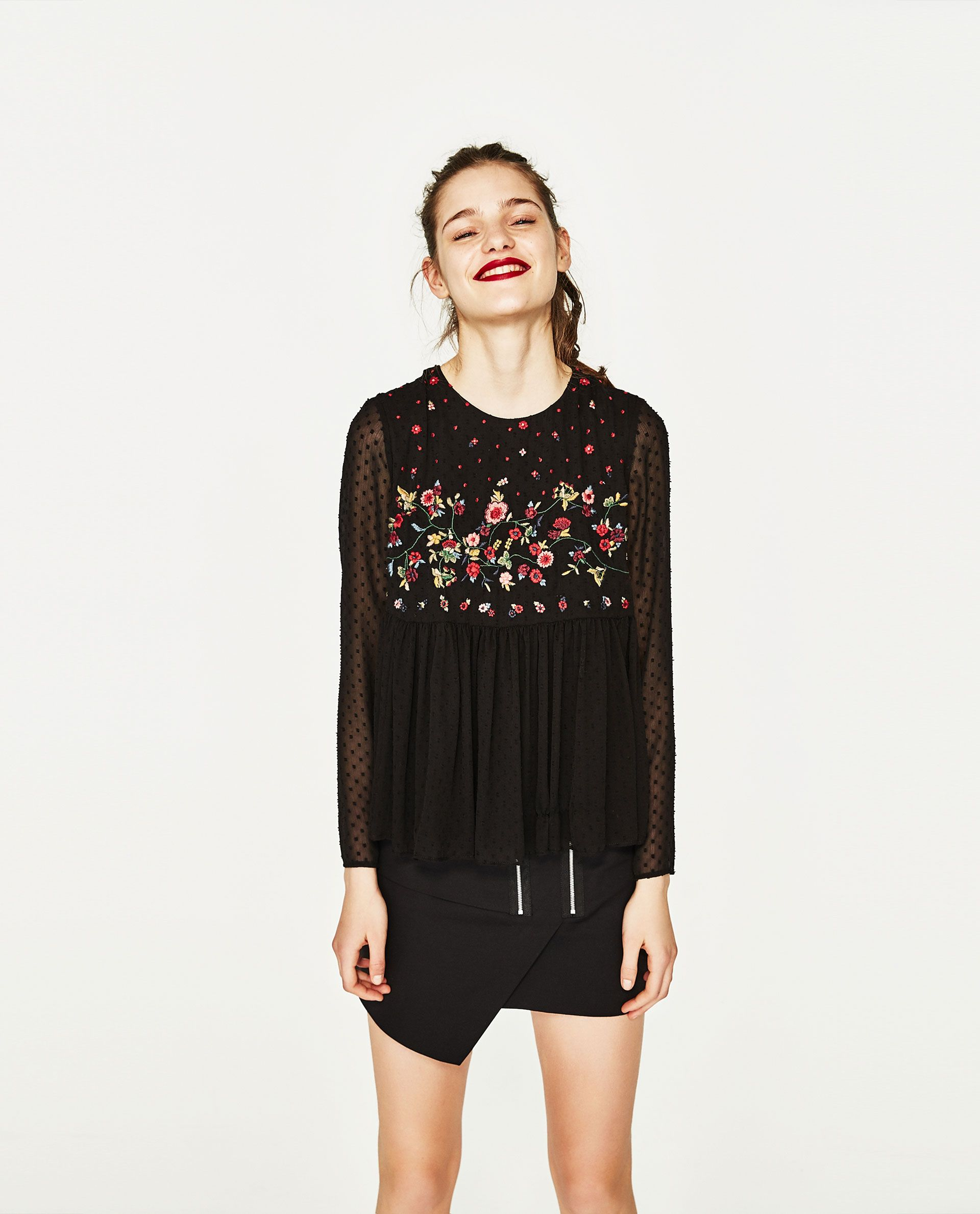 920336342f8505 Image 1 of EMBROIDERED PLUMETIS TOP from Zara Zara Tops