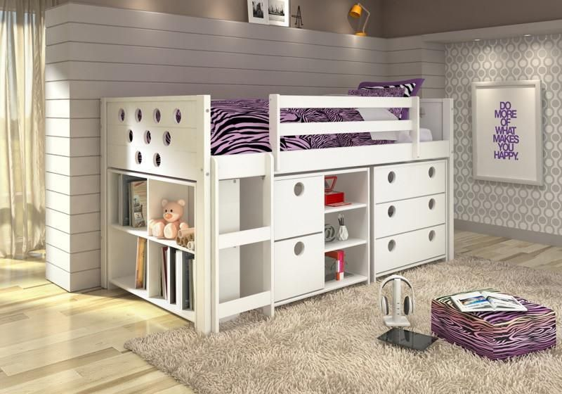 Donco Kids Circles Low Study Loft Bed White 780-W In 2019