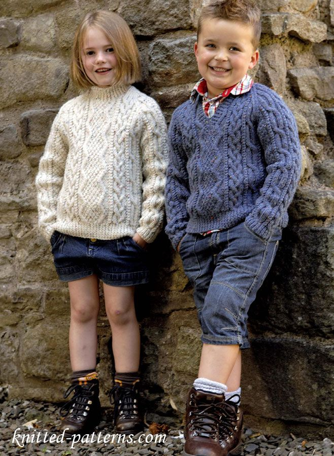 """Baby/'s Crew /& V Neck Sweaters Knitting Pattern Chest 18/""""-24/"""" - 0063"""