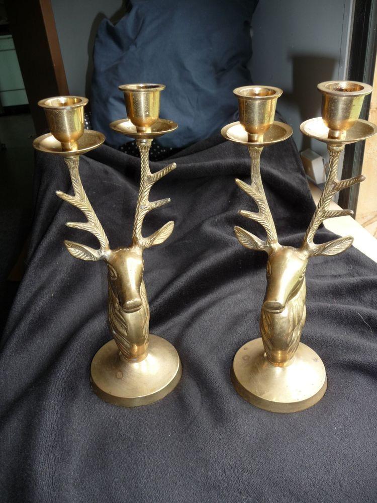 Wonderful Vintage Deer Antler Stag Candlestick Holder Brass? Bronze? Retro 10 1/2 Pictures Gallery
