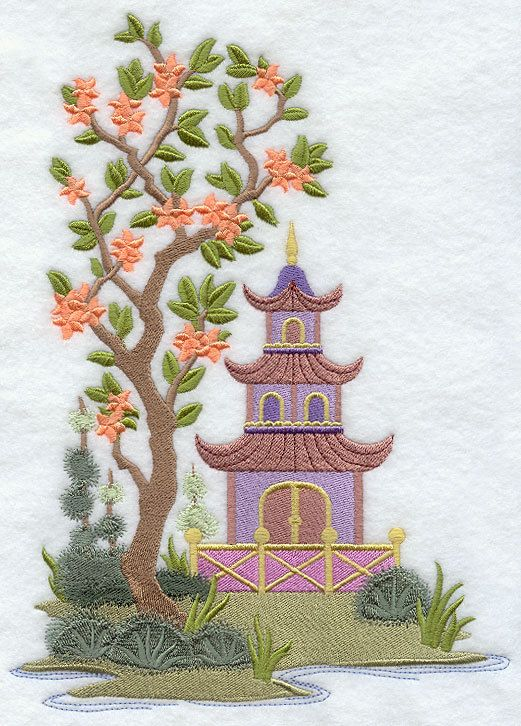 Chinoiserie pagoda scene embroidered by embroideredbysue for Chinoiserie design