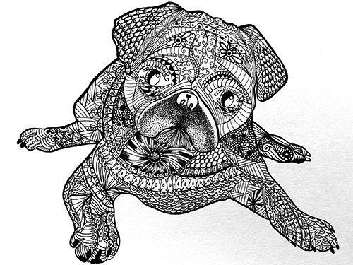 To Draw Zentangle Patterns Doodles Pug Dogs Zen Doodle Coloring