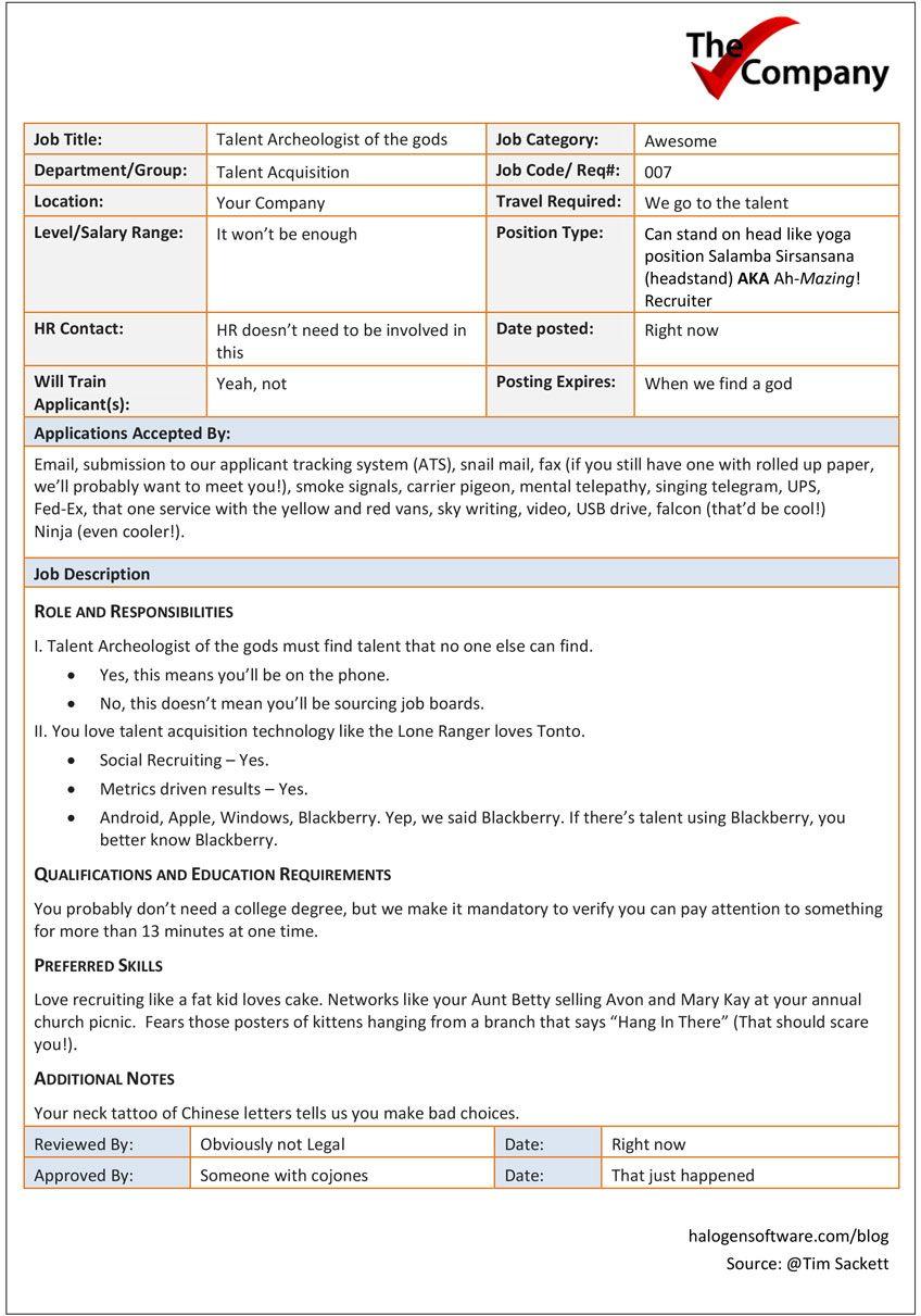 sample job requisition ideal recruiter Company job