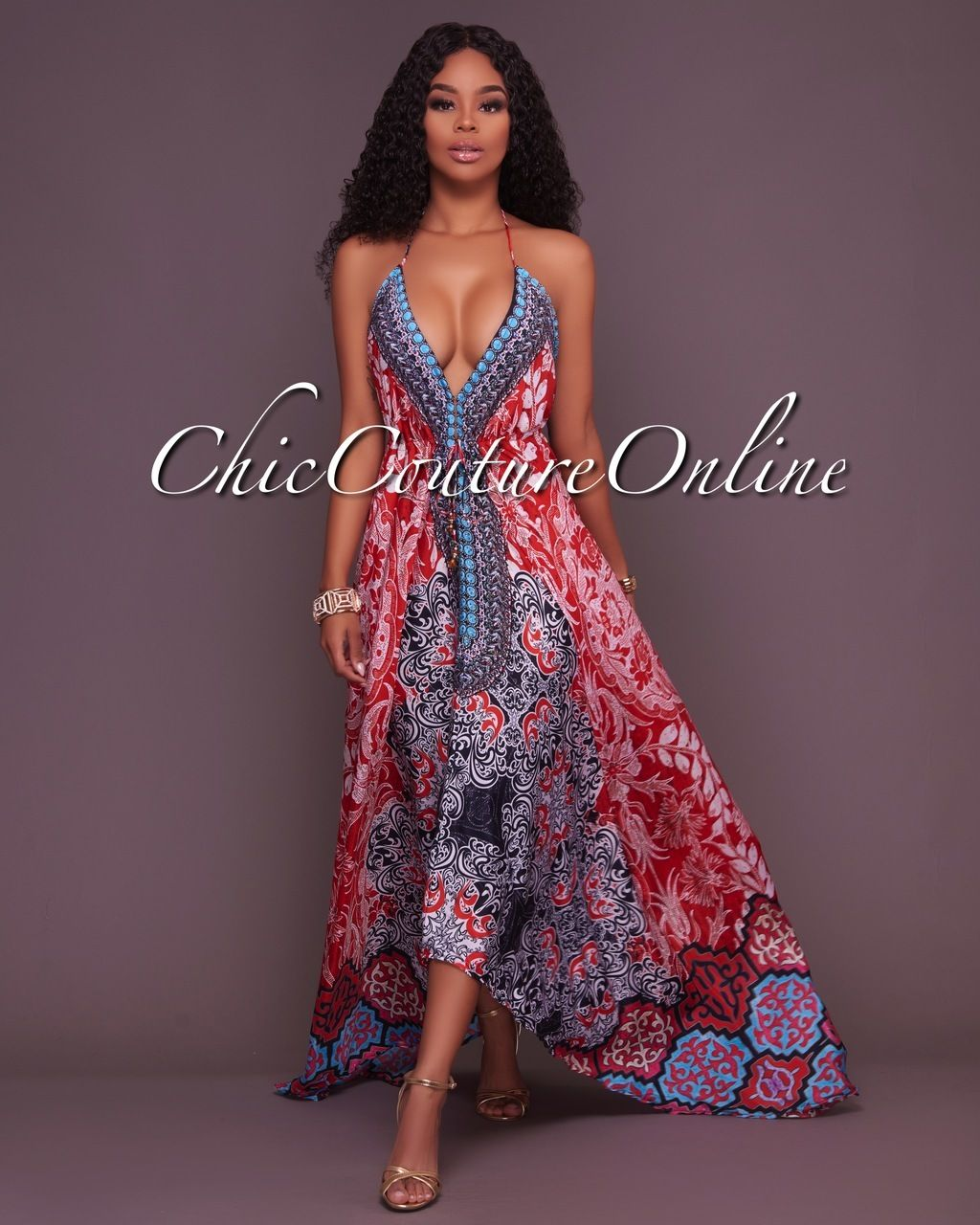 Chic Couture Online - Newton Multi-Color Low Back Silky Halter Dress ...