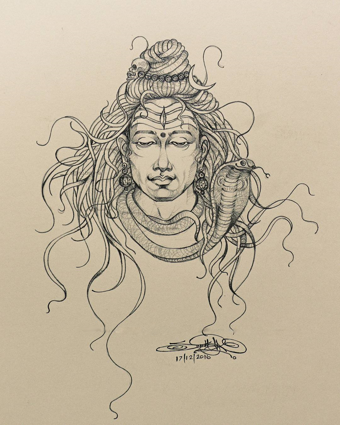 Santubrahmajatadhari shiva pencil on paper