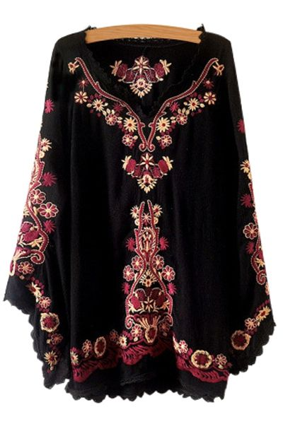 so pretty floral embroidery lace splicing long sleeve