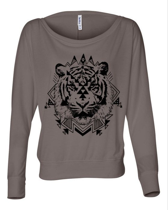 b1980373 Womens Boho NATIVE TIGER Aztec Southwest Print Off Shoulder Long Sleeve  Slouchy Top S M L XL More Colors on Etsy, $22.00
