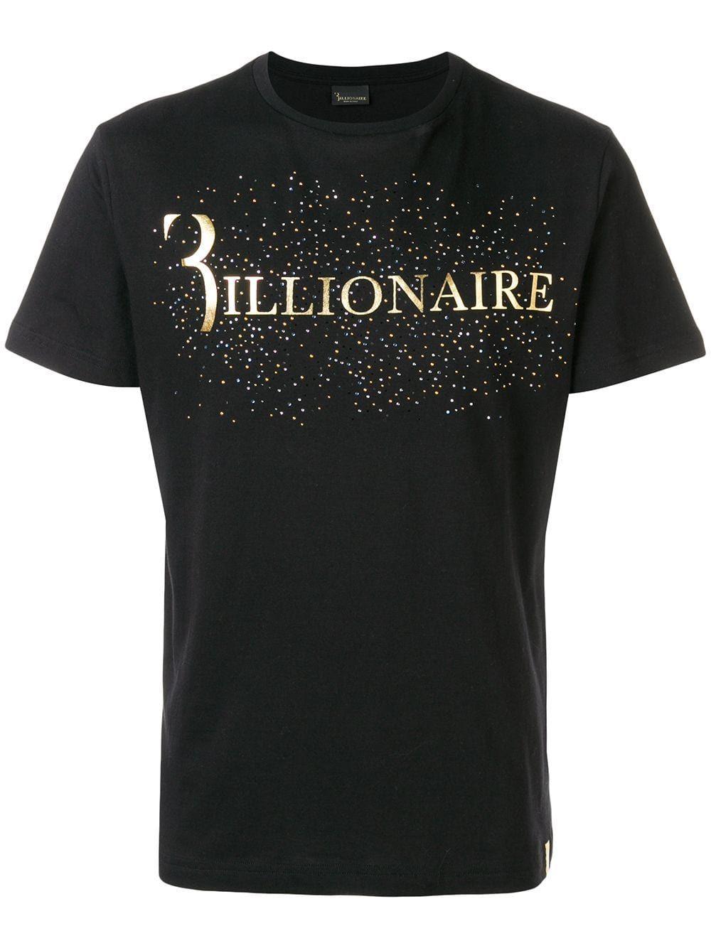 Billionaire Logo Print T Shirt In Black Modesens Cool Shirt Designs Shirt Print Design Tshirt Design Men