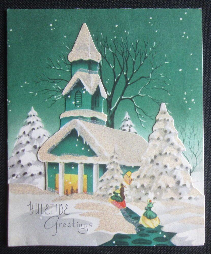 Vintage christmas greeting card 3d green church snowy evening vintage christmas greeting card 3d green church snowy evening yuletide kristyandbryce Choice Image