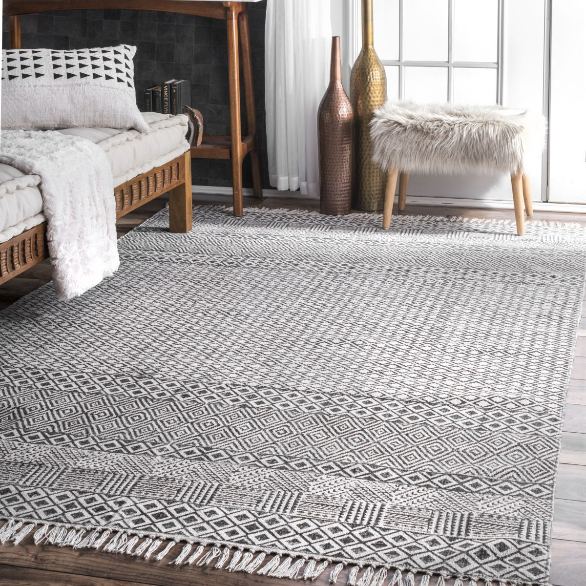Chembra Block Printed Cotton Flatweave Varied Bands Gray Rug In 2020 Grey Area Rug Light Grey Area Rug Farmhouse Rugs