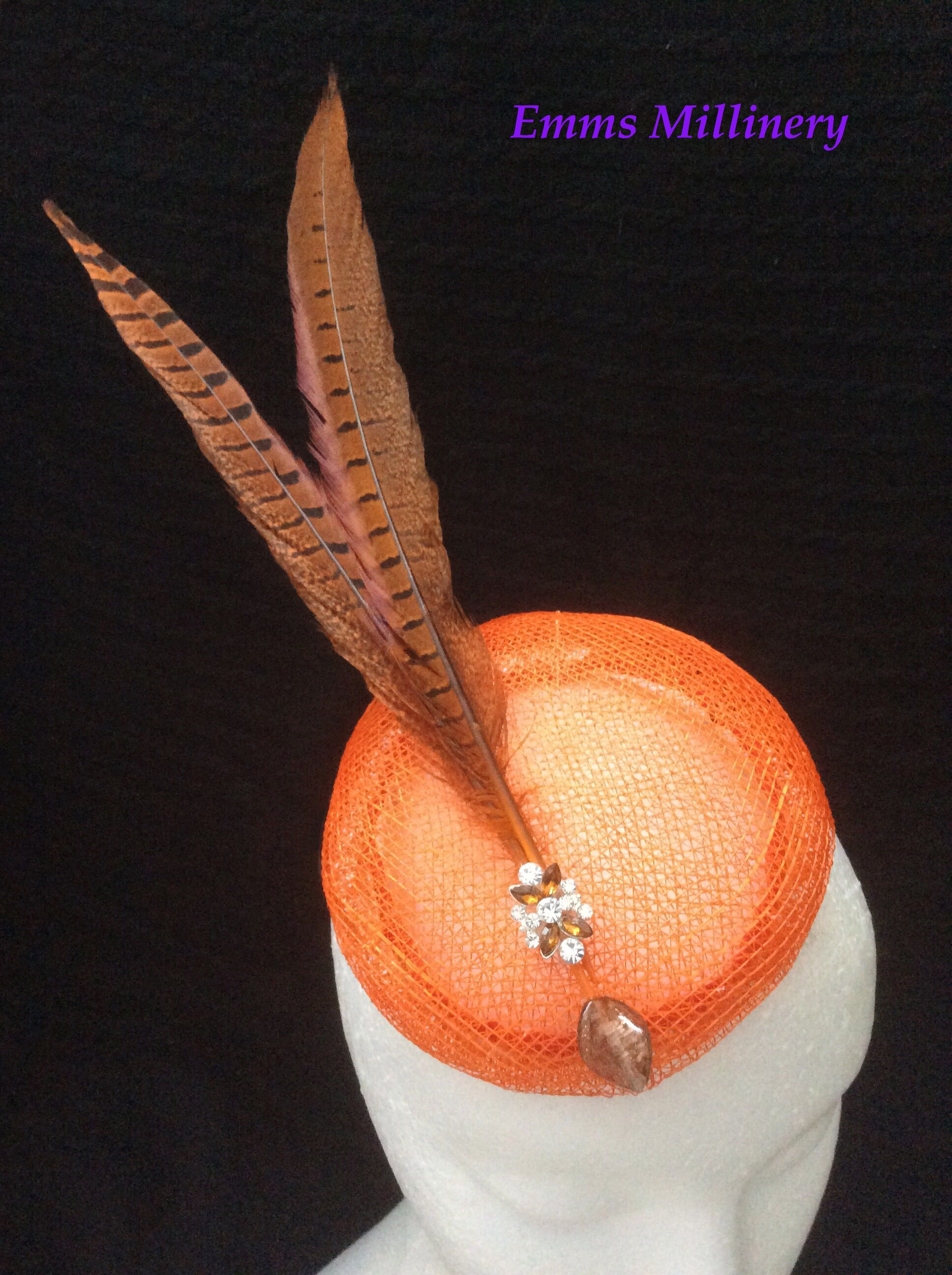 Black Brown Leopard Print Pheasant Feather Fascinator Pillbox Races Hat 3679