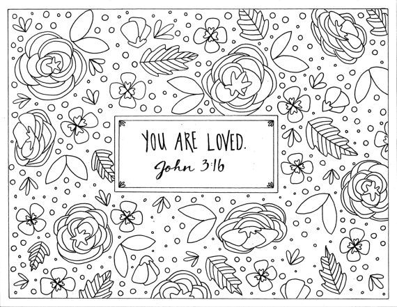 You Are Loved, Coloring Page, John 3:16, Printable, Instant Digital ...