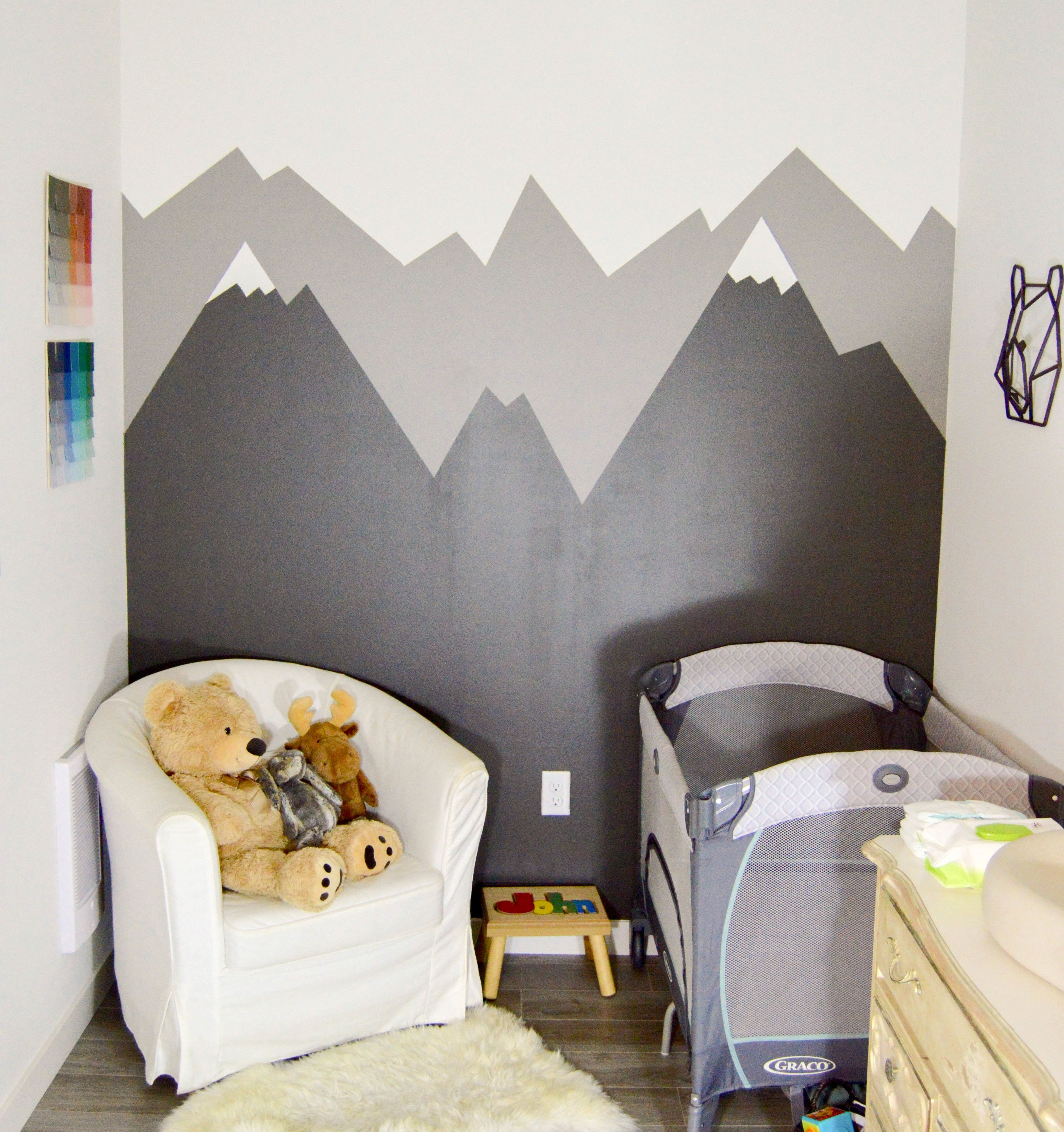 How To Paint A Mountain Mural Baby Room Themes Mountain Mural