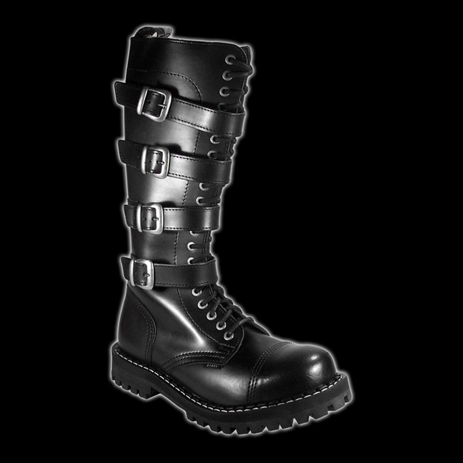 918770eeca0dd0 STEEL - 20 Eyelet Black 4 Buckle Steel-Toe Boot   Shoes   Boots ...
