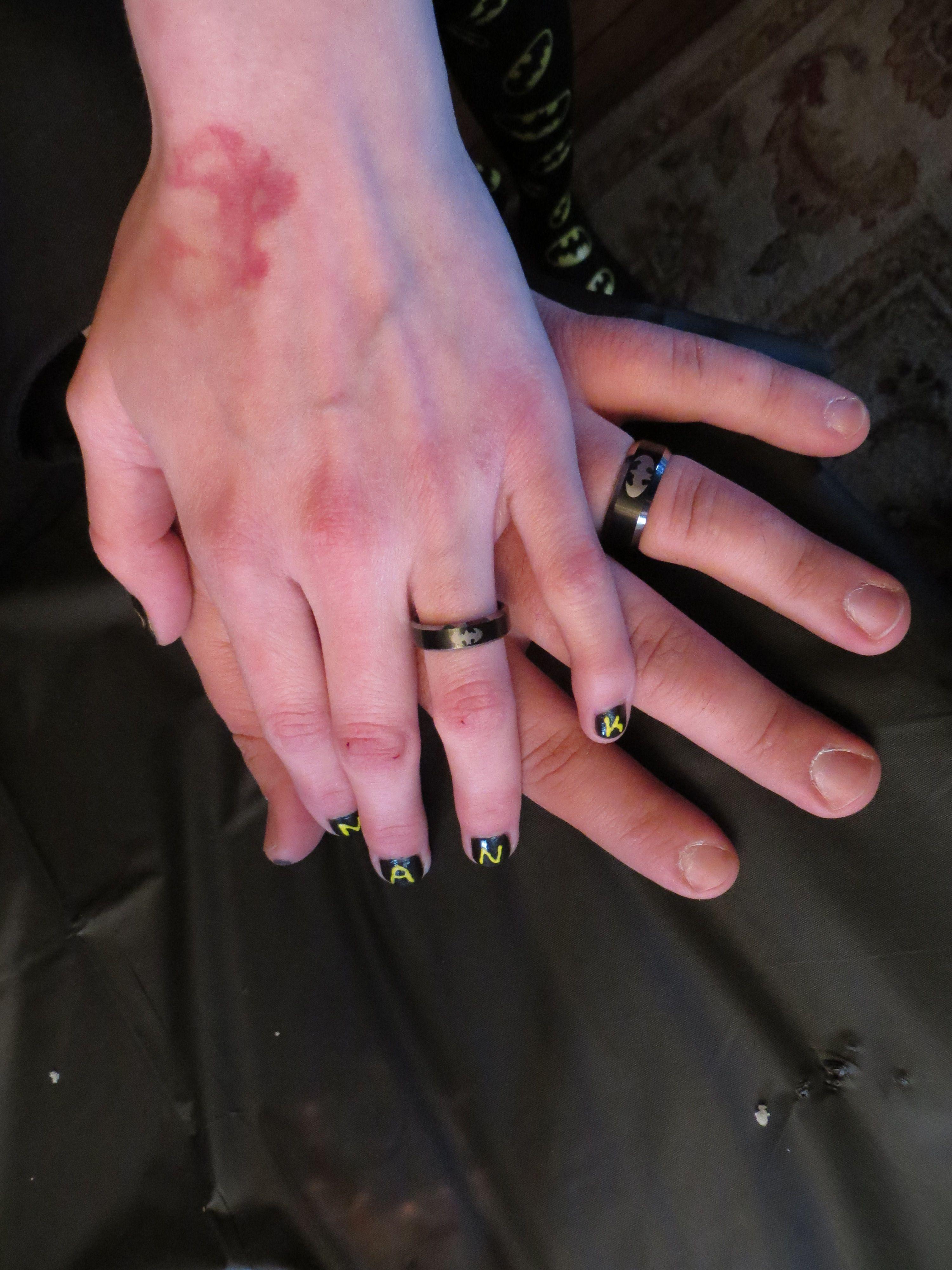 batman rings and the bride had black nails with the batman symbol ...