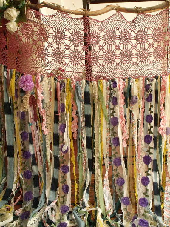 80wide X84long Boho Garland Curtain Gypsy Hippie Glamping Junk Shower Rag Backdrop 7 Foot Long