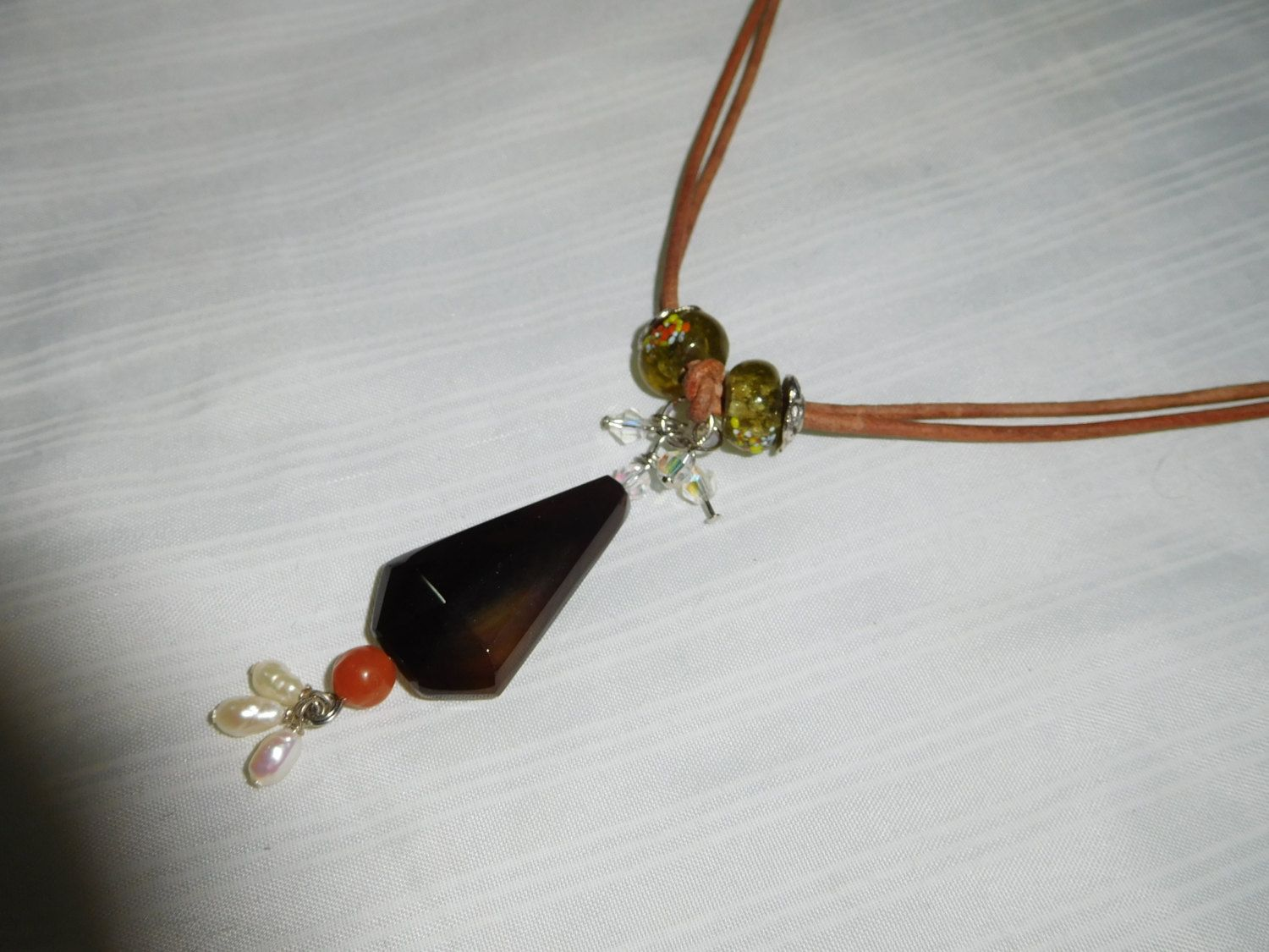 Smoke quartz  Necklace with Millefiori Rondelle Glass Beads, orange agate , pearls and crystals pendant #N00113 by DesignImagesLLC on Etsy