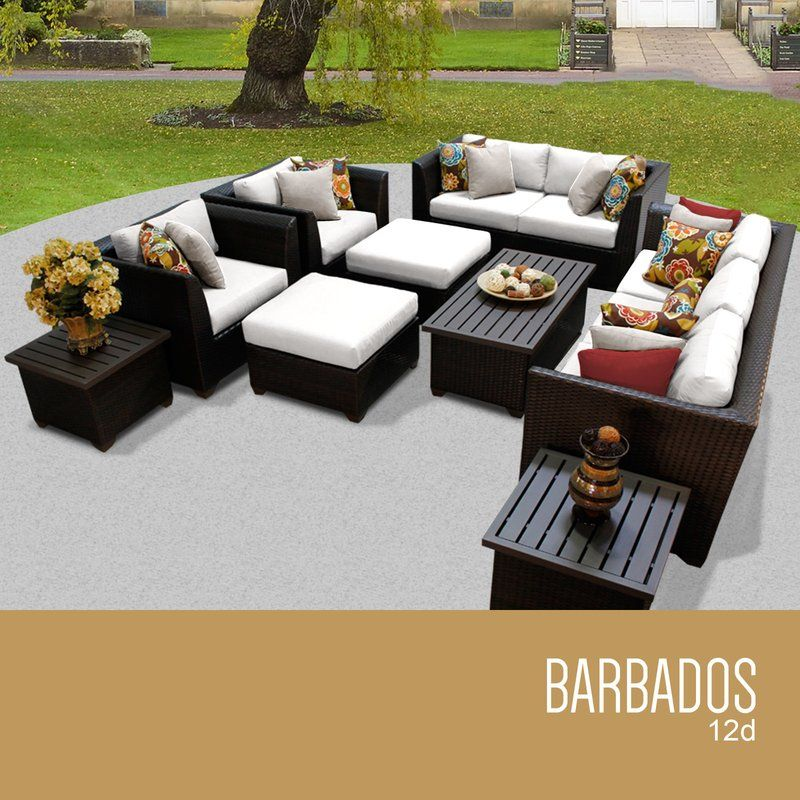 Barbados 12 Piece Deep Seating Group With Cushion Outdoor Wicker