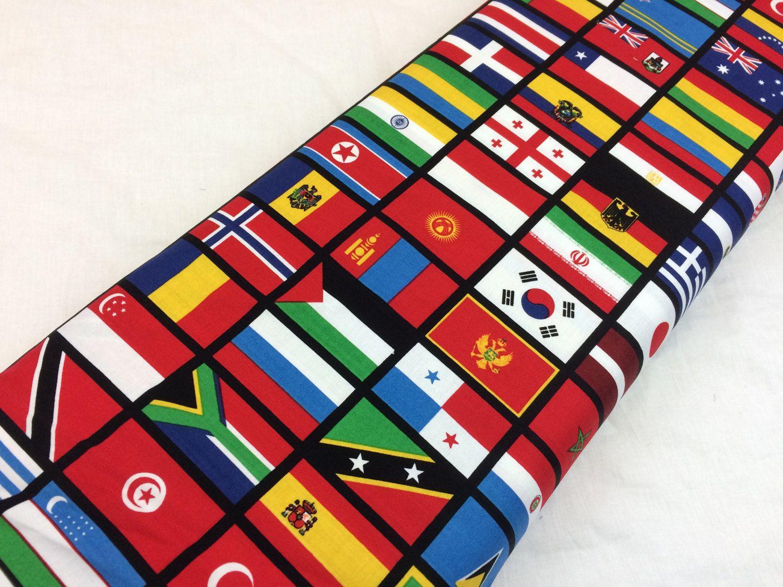 Flags Of The World World Flag Fabric World Map Fabric Riley Blake