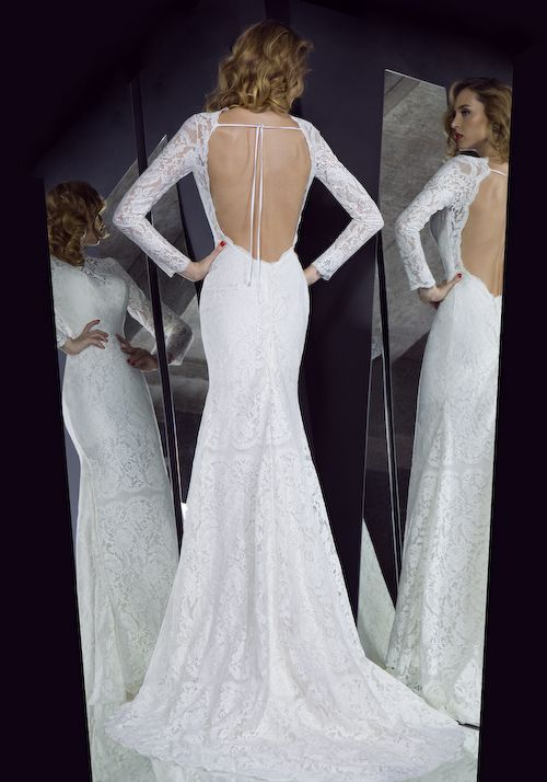 Vintage Lace Long Sleeves Illusion Neckline Open Back Wedding Dress ...