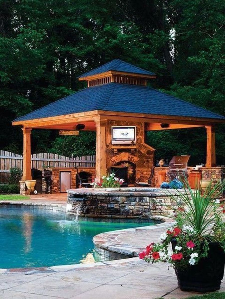 lovely outdoor kitchen and pool design ideas hoomcode with images backyard gazebo pool on outdoor kitchen gazebo ideas id=72569
