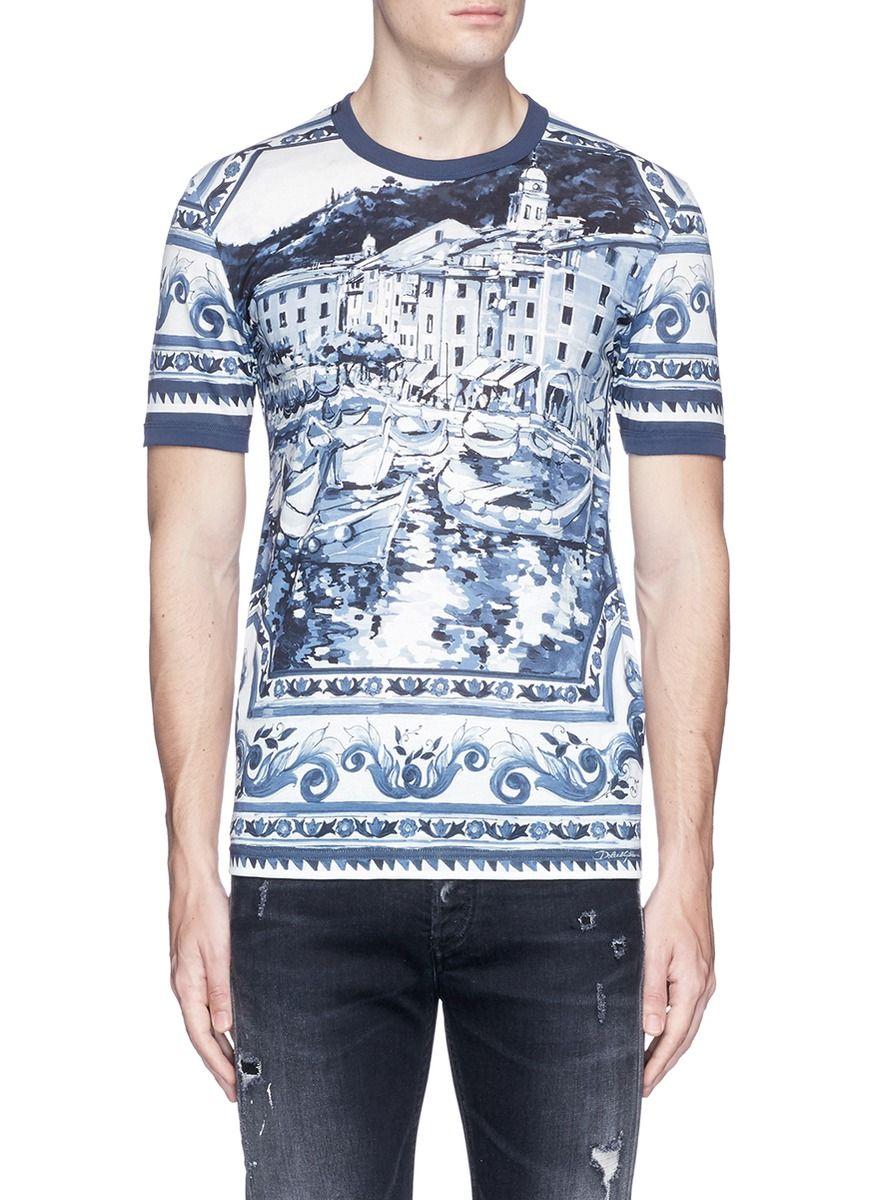 Versace Jeans Men/'s Bianco White Graphic Print Crew-Neck Short Sleeve T-Shirt