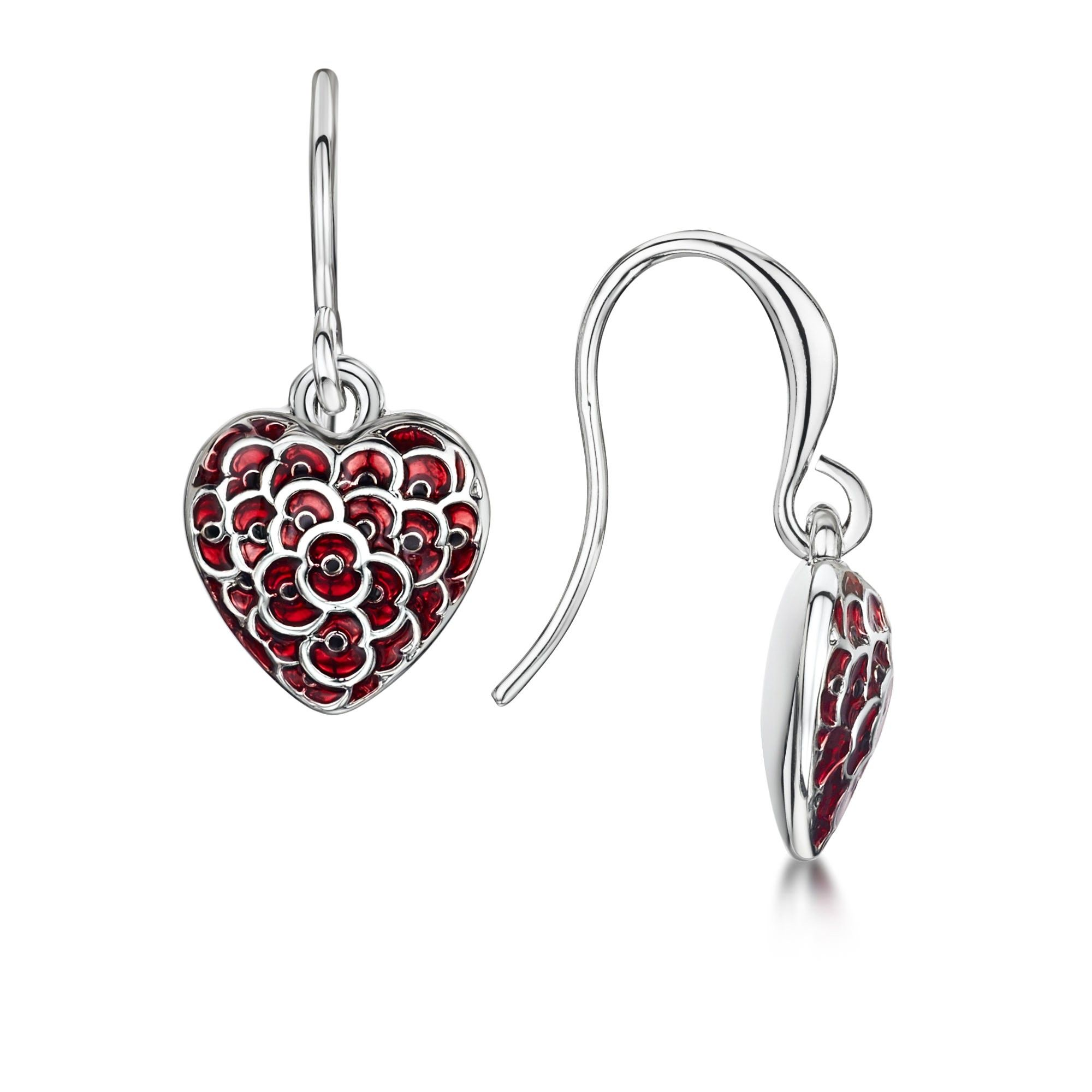 The Official RBL 'Heart of London' Poppy Drop Earrings