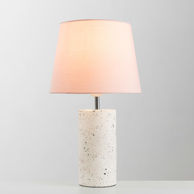 Jubilee Terrazzo Table Lamp With Dusty Pink Aspen Shade With