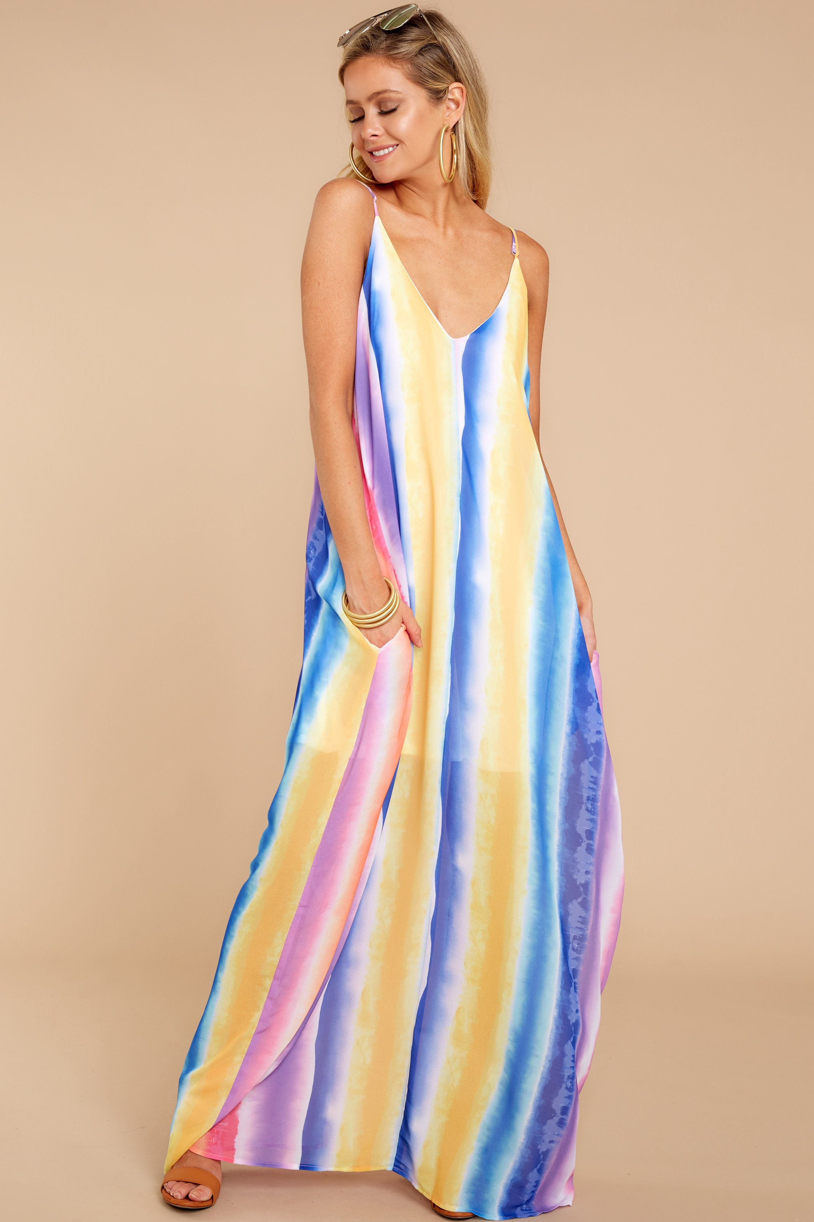 9a88777742e Trendy Purple Multi Maxi Dress - Rainbow Maxi Dress - Dress -  48.00 – Red  Dress Boutique