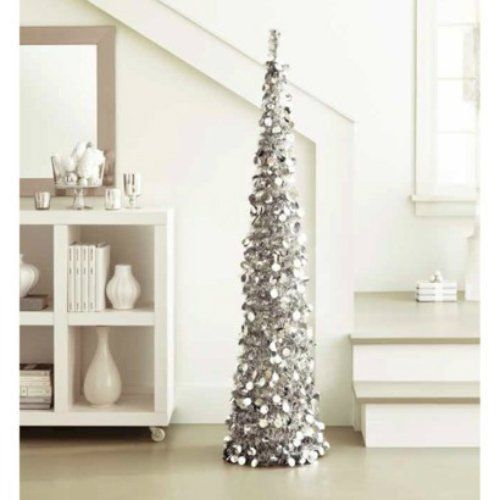 Silver Tinsel Pop Up Christmas Tree: Silver Tinsel Tree: 5 Ft Collapsible Pop-Up Slim