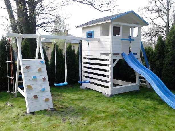Plac Zabaw Z Domkiem Domek Dla Dzieci Zjezdzalnia Hustawka Radomsko Image 2 Tree House Pergola Garden