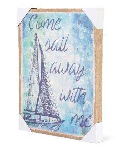 image of Sail Away With Me Burlap Art