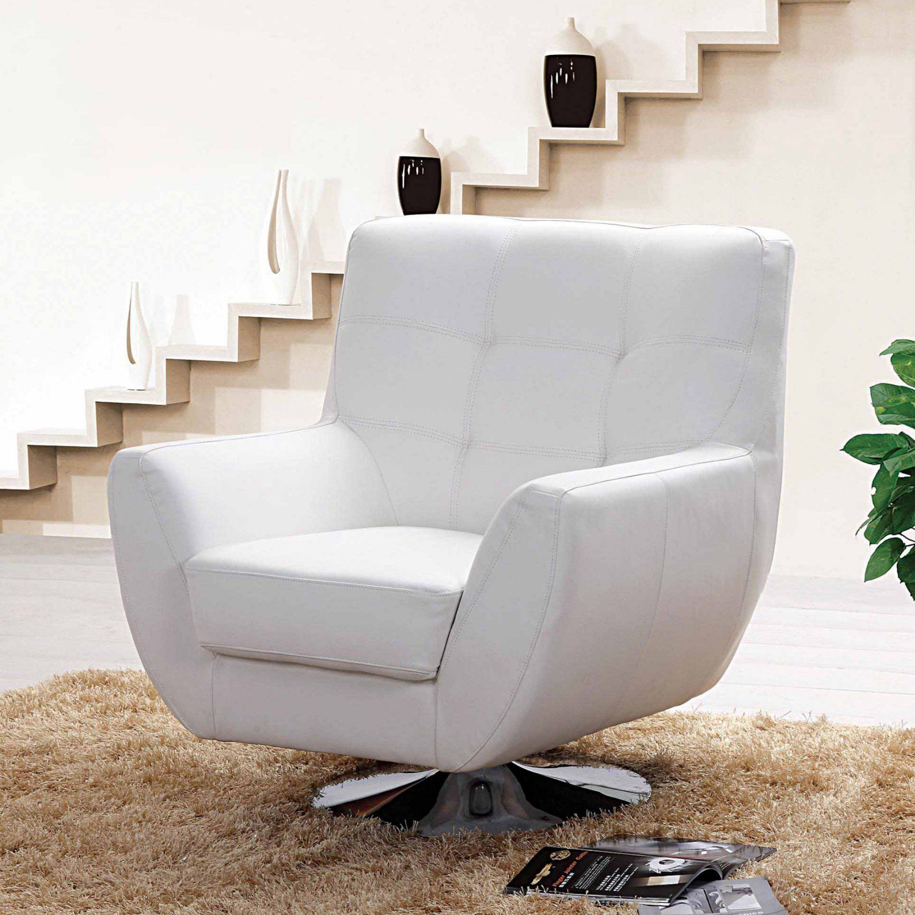 Creative Images Astoria Leather Match Swivel Sofa Chair