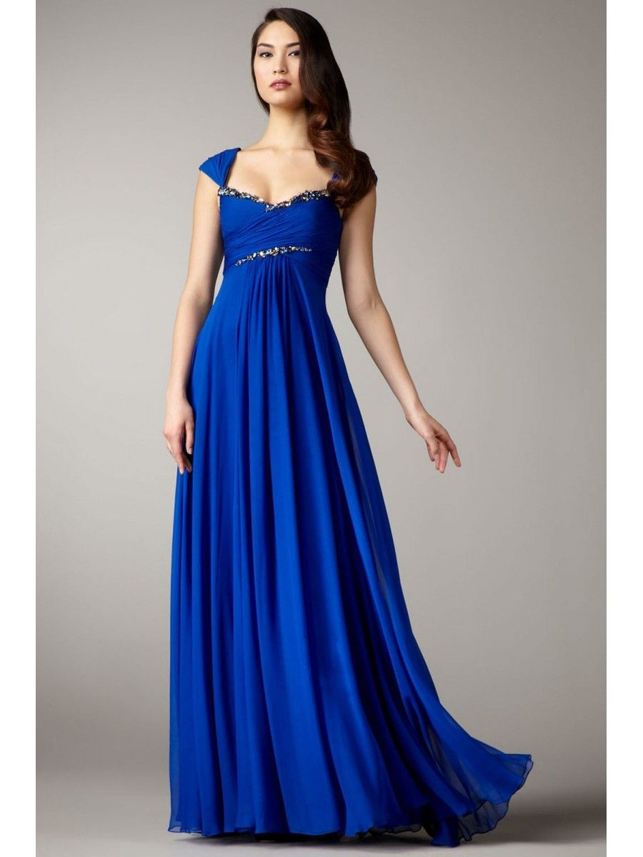 Long Blue Affordable Chiffon Evening / Prom / Formal Dresses ...