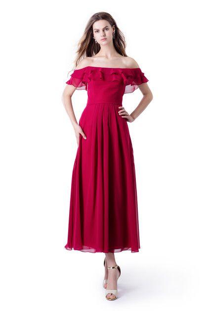Midi-Abendkleid mit Volant in 2020 | Abendkleid, Günstige ...