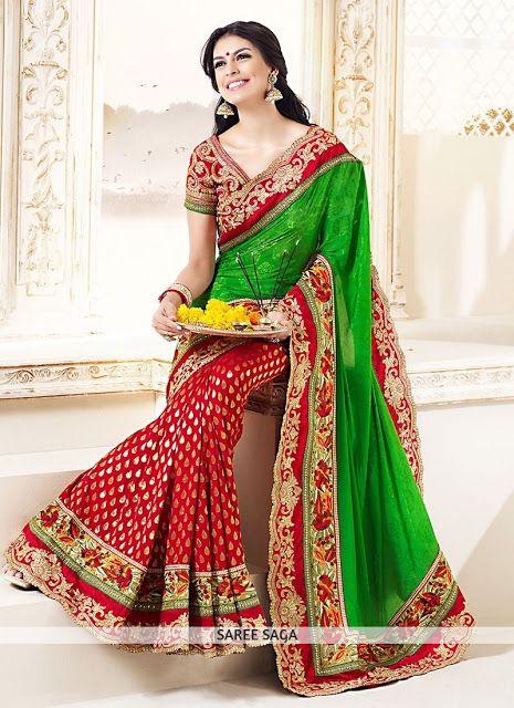 9fd2f61dd8 Z Fashion Trend: RED GREEN PURE CHIFFON EMBROIDERED ZARI WORK SAREE ...