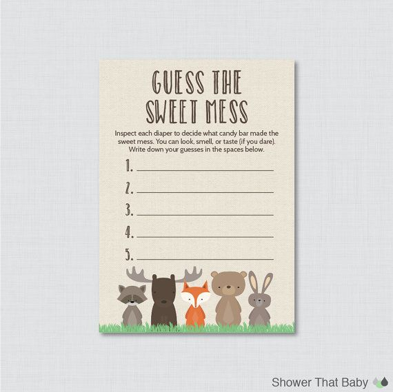 Woodland Baby Shower Diaper Candy Bar Game Printable Guess The Sweet