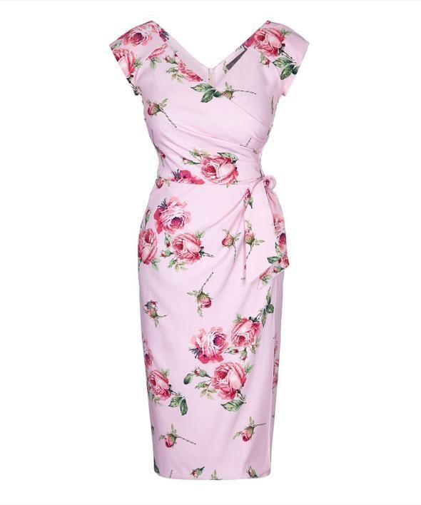 1569efcd7ad Kensington Roses Pink Confident Bombshell Cap Sleeve Dress