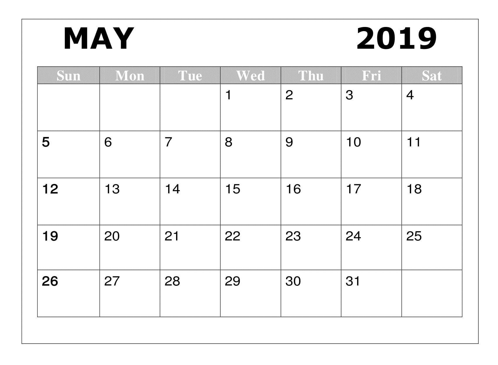Blank May 2019 Calendar Printable Templates Download Printable
