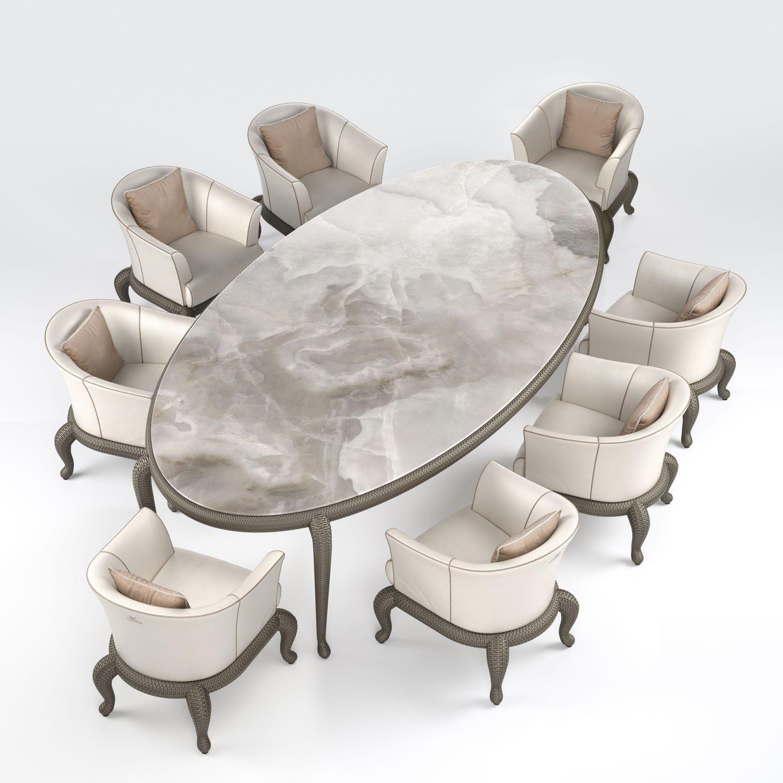 Table  manger ovale classique en céramique CANOPO Samuele