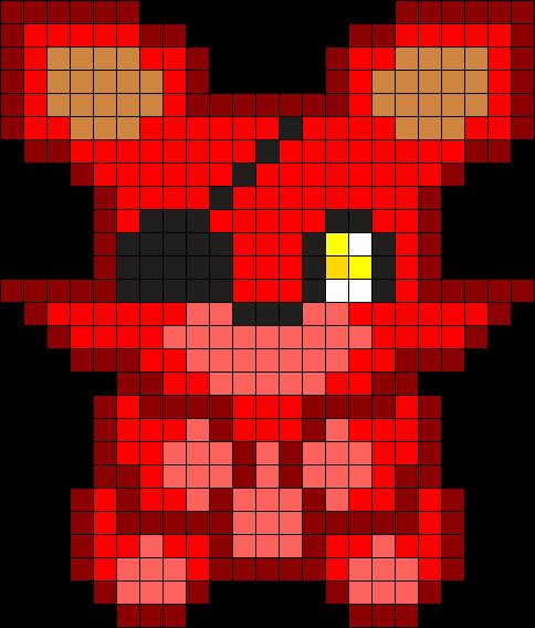 Foxy Plush Perler Bead Pattern Bead Sprite Pixel Art