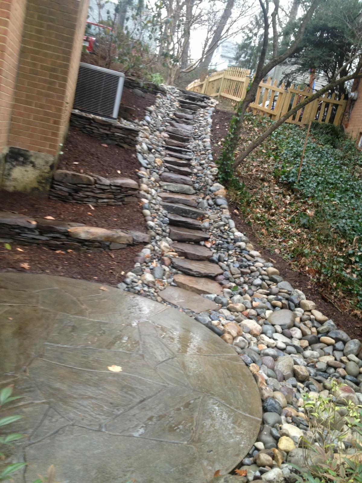 Create a sturdy yet attractive walkway on any slope with for Drainage solutions for my yard