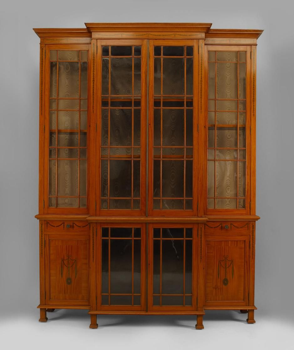 satinwood breakfront cabinet with lattice doors and sides and inlaid  festoon and trim with 14 shelves - English Sheraton Style (19th Cent.) Satinwood Breakfront Cabinet