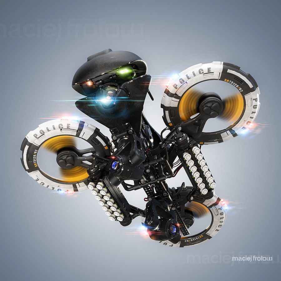 Police Heavy Drone Unit Equiped With Smoke Gas Grenade Launcher And Pusuit Lights Used For Surveillance Drone Design Drones Concept Latest Drone