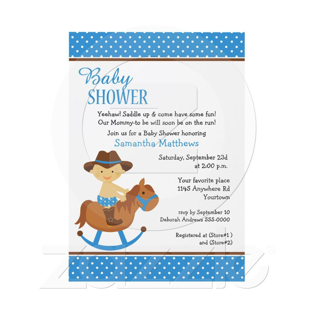 Western Baby On Rocking Horse Baby Shower Invitation From Zazzle Com