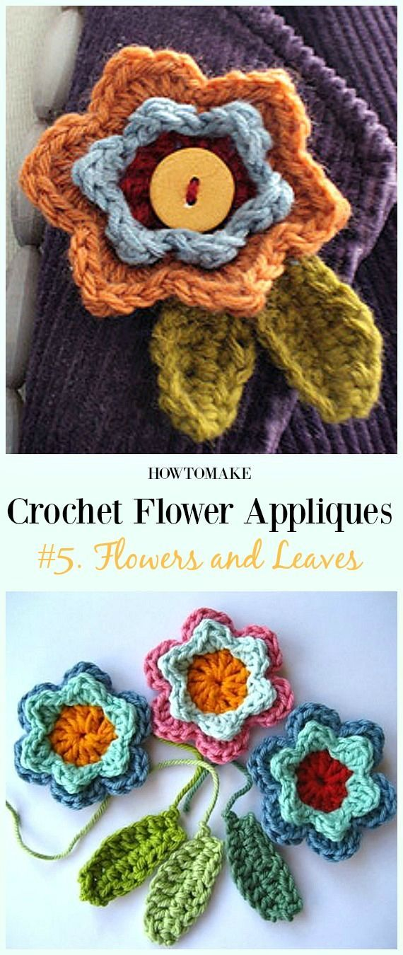 Easy Crochet Flower Appliques Free Patterns For Beginners How To