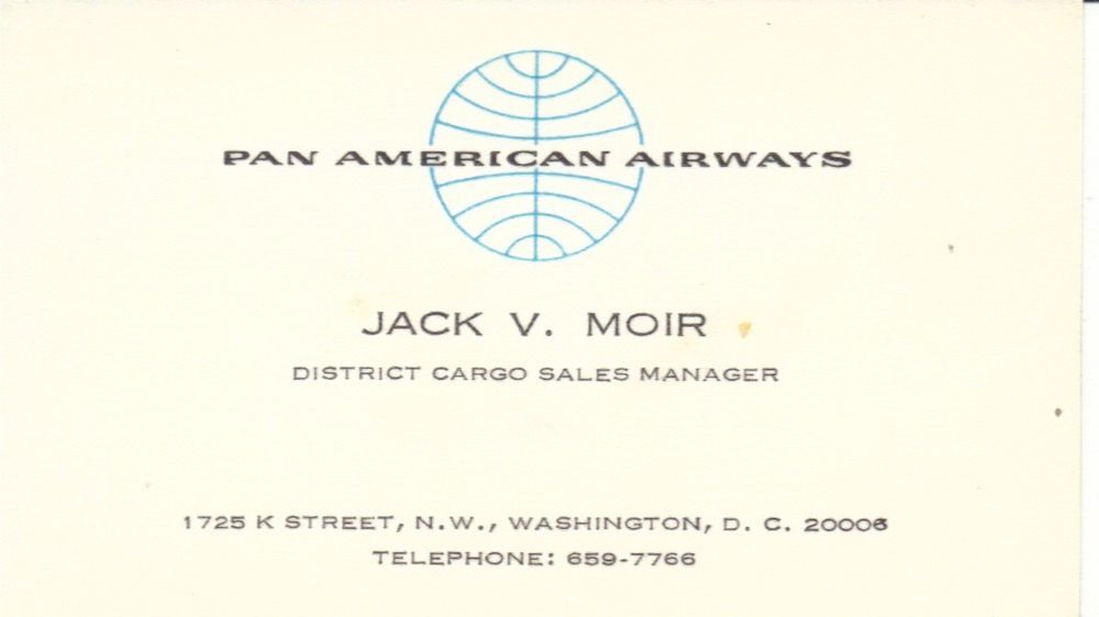 Vintage 1960s PAN AMERICAN AIRWAYS Cargo Sales Mgr BUSINESS CARD ...