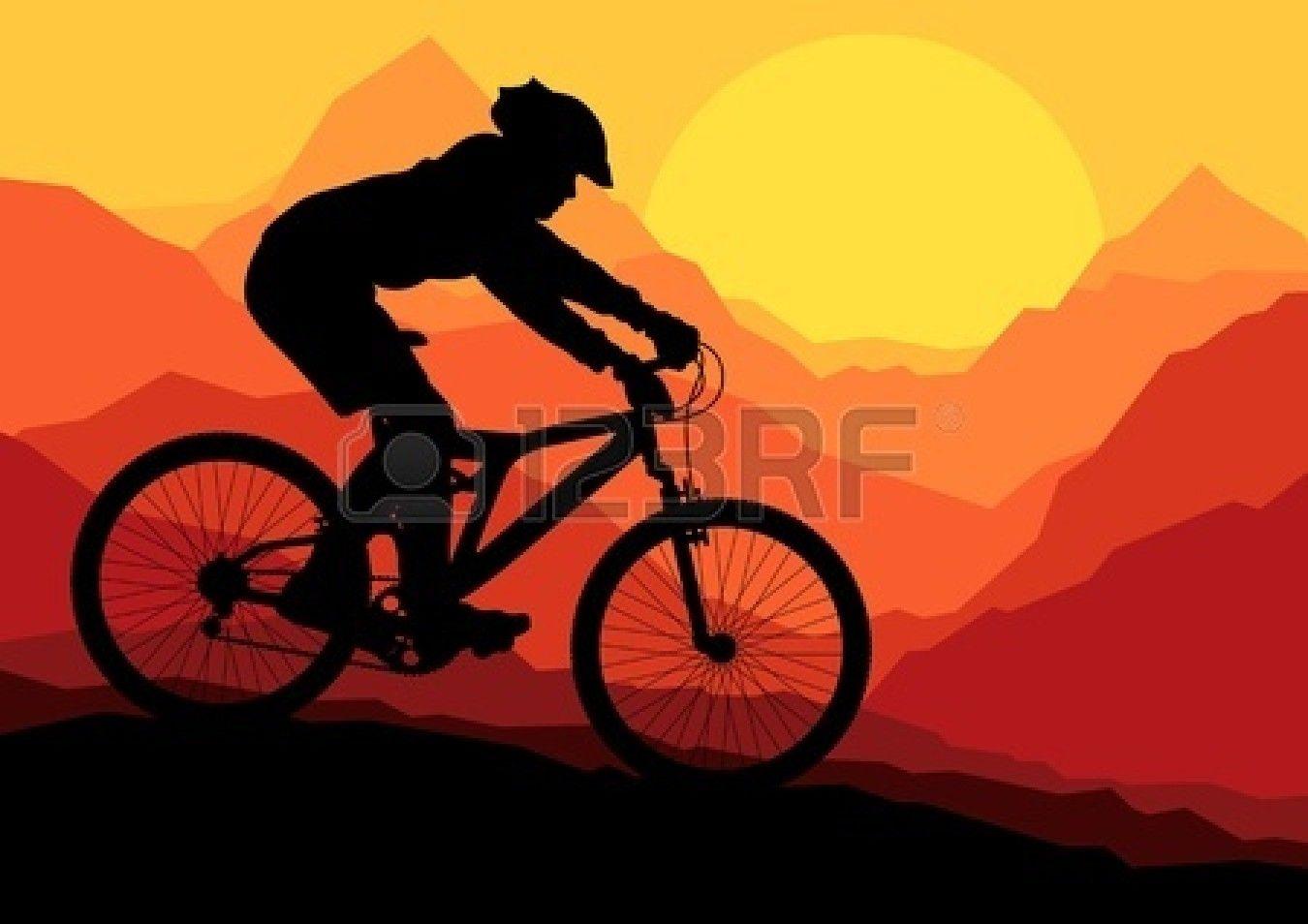 Los Ciclistas De Montana En Bicicleta Por Vector Silvestre Paisaje