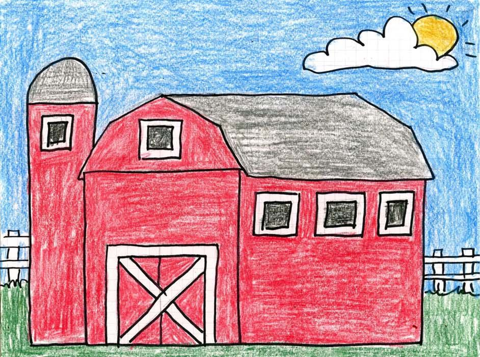 How To Draw A Barn Art Projects For Kids In 2020 Kids Art Projects Kindergarten Art Projects Barn Art