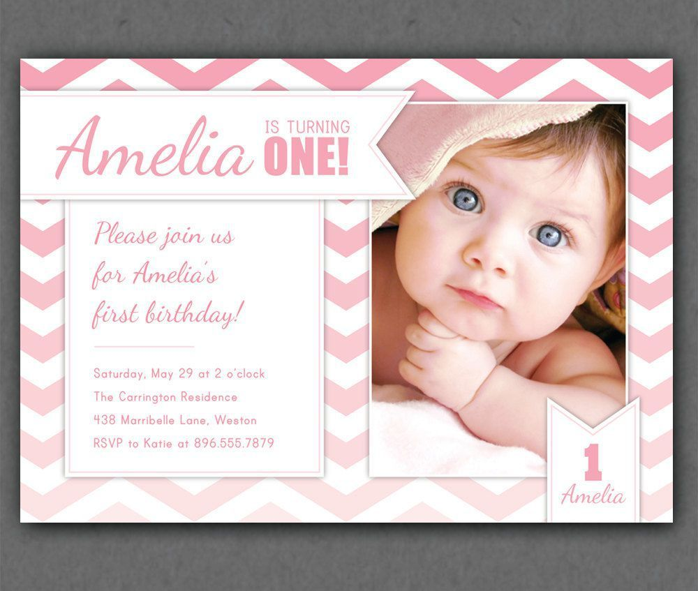 First birthday invitations first birthday invitations online first birthday invitation chevrons chevron photo printable invite grey and pink grey and yellow or aqua 1 year old or any age stopboris Images